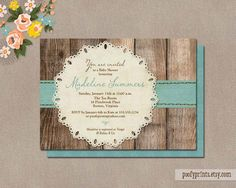 Baby Boy Shower Invitation / Printable Baby Shower Invitation / Rustic invitation with wood background blue ribbon and lace doily / Madeline by PoofyPrints on Etsy https://www.etsy.com/listing/102091564/baby-boy-shower-invitation-printable