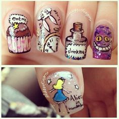 Awesome alice in wonderland nails