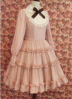 Shiny Long Sleeves Cotton Sweet Lolita Dress with Bowknot and Lace-up