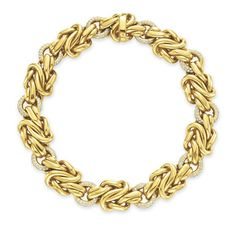 A DIAMOND AND GOLD NECKLACE, BY VERDURA  Designed as a series of circular-cut diamond hoops, joined by sculpted 18k gold knotted links, mounted in 18k gold, 16 ins. Signed Verdura, Germany