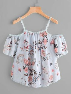 SheIn offers Cold Shoulder Floral Print Lace Trim Top & more to fit your fashionable needs. Cute Comfy Outfits, Cute Girl Outfits, Pretty Outfits, Cool Outfits, Cute Summer Outfits, Girls Fashion Clothes, Teen Fashion Outfits, Trendy Fashion, Mode Pastel