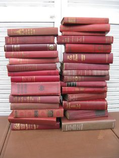 marsala book stack one yard high wine book by rivertownvintage