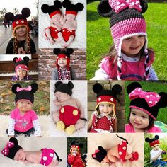 1 Set Baby Mouse Beanie  Crochet Hat Outfits Photography Prop Cap Jumpsuit 3-24M #Handmade #Dressy