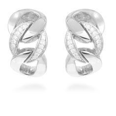 Griwa Earrings Silver, White Zircon #LuxenterJoyas  #LuxenterTimeToShine