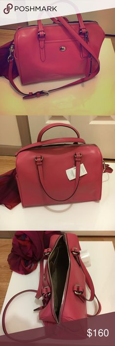 Coach satchel Beautiful strawberry pink leather satchel! Taupe interior with 2 pockets on one side and zip compartment on other. Perfect condition! NWT Coach Bags Satchels