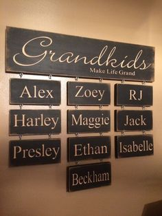 """Personalized Carved Wooden Sign - """"Grandkids Make Life Grand"""" Haylees Closet creates custom carved wooden signs for that perfect personalized addition to your home decor. All of our signs are hand painted and Pallet Art, Do It Yourself Home, Diy Signs, Wall Signs, Wooden Crafts, Wrapping Ideas, Wood Projects, Woodworking Projects, Woodworking Store"""