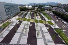 NSE Kitakyushu Technology Center by PLATdesign « Landscape Architecture Works Landscape Elements, Landscape Concept, Landscape Architecture Design, Contemporary Landscape, Urban Landscape, Landscape Architects, Car Park Design, Parking Design, Landscape Architecture
