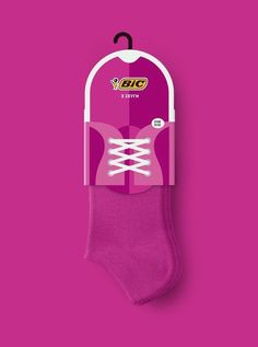 Shoe-Inspired Sock Packaging - The Bic Sock Packaging Imagines the Product in Use