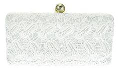 Clutch Branca Renda. Bolsa de festa em tecido rendado na cor branca e detalhes dourados.