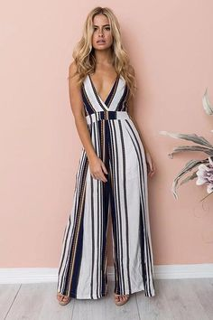 2018 Fashion Women Jumpsuit Sleeveless Striped Jumpsuit Summer Romper Wide Leg Trousers Womens V-neck Casual Clubwear Outfits Long Jumpsuits, Jumpsuits For Women, Wide Leg Trousers, Trousers Women, Striped Jumpsuit, Summer Jumpsuit, Summer Romper, Black Jumpsuit, Romper Outfit