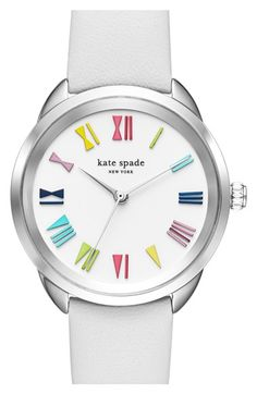 kate spade new york 'crosstown' leather strap watch, 34mm