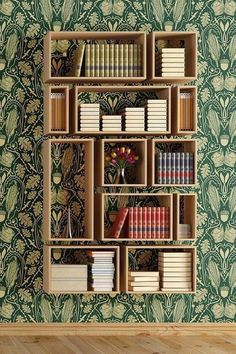 Pretty bookshelves that you can make by yourself. DIY bookshelves that will decorate your home and will give you some storage space where you can store all your books. Cool Bookshelves, Bookshelf Design, Bookshelf Ideas, Bookshelf Styling, Simple Bookshelf, Bookcase Decorating, Open Bookcase, Shelves For Books, Diy Bookcases