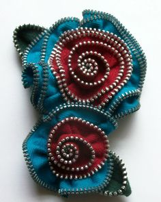 Turquoise Teal and Red Multi Flower Floral Brooch / Zipper Pin - 3083 by ZipPinning on Etsy