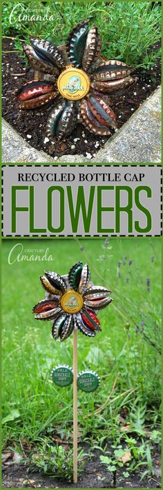 Turn old bottle caps into a rustic bottle cap flower to display in potted plants or right in your garden. Safe to leave outside too!
