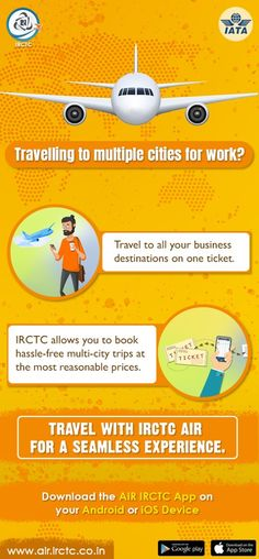 Stressed about booking air tickets to multiple cities? Worry no more as you can fly to multiple cities in a single affordable air ticket booked on #IRCTC Air app. To book now, visit www.air.irctc.co.in Air Ticket Booking, Air Tickets, International Flight Tickets, One Ticket, Work Travel, Digital Marketing, Cities, App, Books