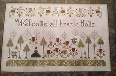 WELCOME ALL HEARTS HOME CROSS STITCH CHART PLUM STREET SAMPLERS  | eBay
