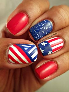 Spellbound Nails Drink Me, fourth of july, red white and blue, stars and stripes, tribal, white glitter, America, American, nail, nails, nail art, nail design, mani