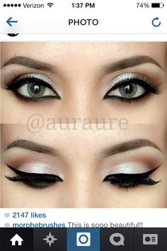 cream eye with dramatic liner