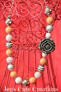 Peach and Grey Bubble Gum Necklace with Grey by JensCuteCreations