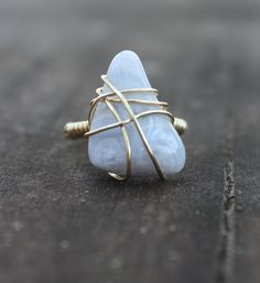 Blue Lace Agate Wire Wrapped Stone Ring