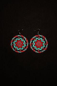 Huichol Sun Earrings Morning Star Earrings Small Medallion