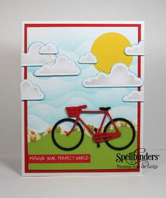 Summer Fun in the Sun bike card by designer Yvonne van de Grijp, Spellbinders in'spire dies