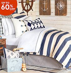 This collection of bedroom furniture and decor will help you create a calm, seaside-inspired sleep space. Classic white vanities and bookcase headboards offer a chic place to display your beauty products and favorite reads, while woven chests stash extra bedding and more. Beach-themed wall art and navy throw pillows tie the coastal look together.