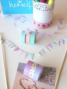 bunting tutorial, come creare le bandierine per una torta