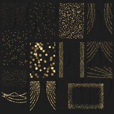 Gold Bokeh String Lights Digital Clipart Overlay by ItGirlDigital