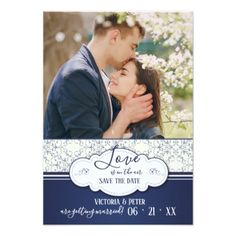 Blue Elegance Photo Save the Date Announcement - floral style flower flowers stylish diy personalize