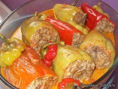 Фаршированные перцы. Толма по-грузински. В Грузии популярны 3 вида толмы: с начинкой в капустных, виноградных листья или готовят фаршированный перец.