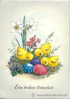 Vintage Greeting Cards, Vintage Postcards, Vintage Easter, Vintage Christmas, Happy Easter, Easter Bunny, Egg Card, Fairy Wallpaper, Easter Garland