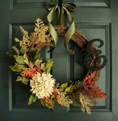 couronne de porte en fleurs décoration automnale DIY