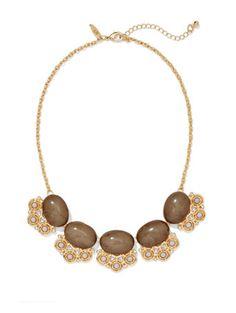 Faux-Stone Cabochon Bib Necklace  - New York