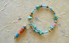 boho hippie beaded bracelet Tyvek jewellery hippie