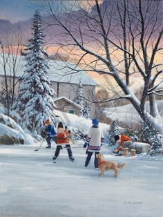 Hockey I by Doug Laird Winter Painting, Winter Art, Backyard Ice Rink, Winter Background, Park Art, Winter Scenery, Mountain Art, Canadian Art, Christmas Scenes