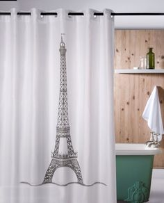 Perdea dus alba Turn Eiffel pentru o baie in stil Vintage Hookless Shower Curtain, Interiors Online, Interior Decorating, Interior Design, Vintage Prints, Curtains, Black And White, Home Decor, Bathrooms
