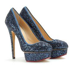 mytheresa.com - Charlotte Olympia - PRISCILLA GLITTER PLATFORM PUMPS - Luxury Fashion for Women / Designer clothing, shoes, bags