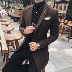 Men's Long Blazer Vintage Retro Slim Fit Casual Wool Blend Coffee M Turtleneck And Blazer, Long Blazer, Casual Blazer, Outfit Hombre Formal, Prom Blazers For Men, Blazer Outfits Men, Designer Suits For Men, Smart Casual Outfit, Brown Suits