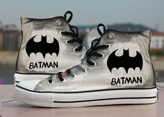batman shoes canvas shoes hand paint  shoes by Kingmaxpaints