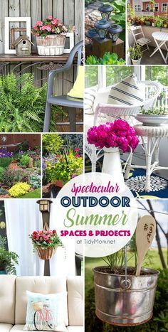 Spectacular Outdoor Summer Spaces and Projects from ponds to patios and gardens to hanging baskets and more! Details and http://TidyMom.net