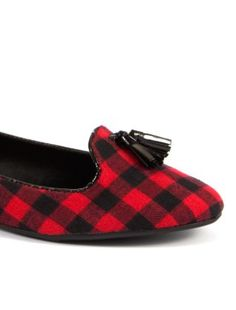 Red and Black Check Tassel Slipper Shoes | New Look