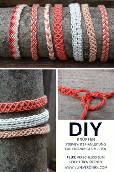 Make solid-colored friendship bracelets: free instructions & step-by-step . - Make solid-colored friendship bracelets: Free instructions & step-by-step instructions for a great friendship ribbon closure from VlikeVeronika # tie bracelet - Diy Jewelry Rings, Diy Jewelry Unique, Diy Jewelry Holder, Macrame Jewelry, Macrame Bracelets, Diy Bracelets To Sell, Diy Jewelry To Sell, Diy Jewelry Making, Glasses For Your Face Shape