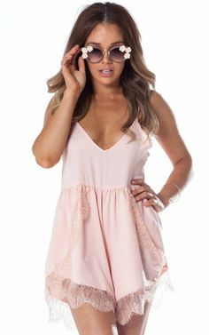 Frothy and lace at SHOWPO.com Harmony playsuit in peach http://www.showpo.com/harmony-playsuit-in-peach
