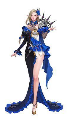 ArtStation - blue rose, bbang Q Fantasy Girl, Elves Fantasy, Fantasy Warrior, Dark Fantasy Art, Fantasy Women, Anime Fantasy, Fantasy Character Design, Character Design Inspiration, Character Art