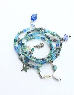 Blue Beach Jewelry Wrap Bracelet or Long Necklace Mermaid
