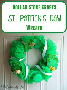 Check out our latest dollar store crafts idea! This St. Patrick's Day Wreath is super easy and costs under $10 to make!