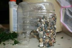 Fairy house from plastic bottle