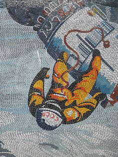 """Mosaic from the series """"Man Conquers the Cosmos"""" by Fritz Eisel, installed in Potsdam, Germany."""