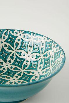 Quorra Bowl by Anthropologie in Green, Bowls Modern Dinnerware, Unique Photo, Tile Design, Basin, Morocco, Serving Bowls, Anthropologie, Decorative Bowls, Porcelain